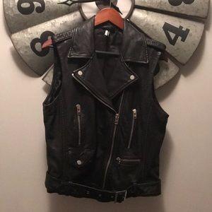 Topshop Leather Biker Vest US Size 10